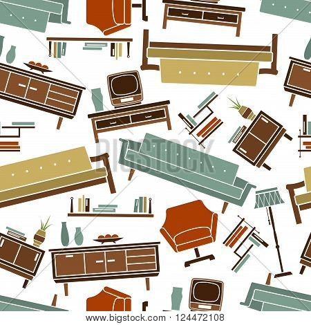 Retro home furniture seamless pattern with armchair and sofa, floor lamp and bookshelf, bedside table and chests of drawers with TV set, books and vases in pastel colors