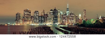 Manhattan Downtown architecture night view with abandoned pier
