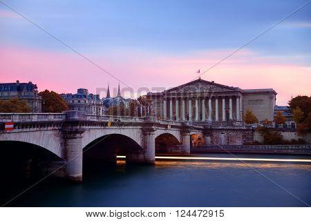 Paris River Seine and bridge