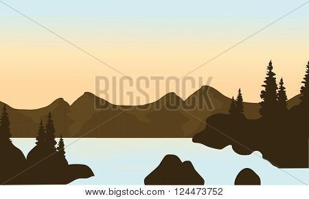 Silhouette of mounttain and river with brown backgrounds