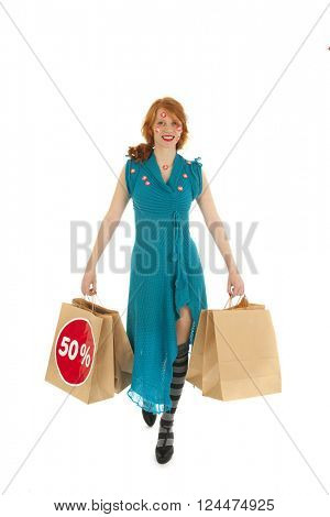 Woman during season sale with bags