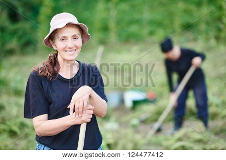 Portrait of georgian villager on farm