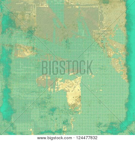 Old school frame or background with grungy textured elements and different color patterns: yellow (beige); brown; green; blue; gray