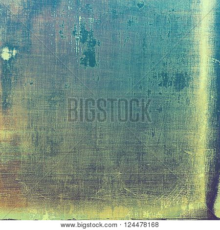 Grunge design composition over ancient vintage texture. Creative background with different color patterns: yellow (beige); brown; blue; gray; cyan