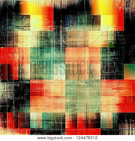 Geometric old crumpled grunge background or ancient texture. With different color patterns: yellow (beige); brown; green; red (orange); black; cyan