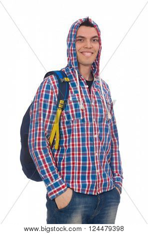 Smiling caucasian student with backpack isolated on white