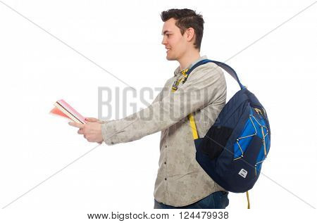 Smiling caucasian student with backpack and books isolated on white