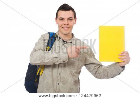 Smiling caucasian student with backpack and book isolated on white