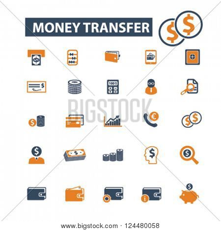 money transfer icons
