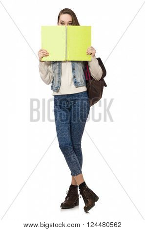 Pretty student holding textbooks isolated on white