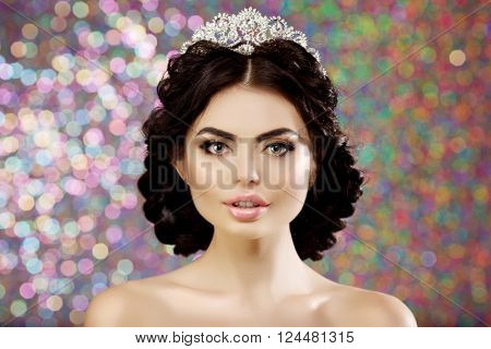 Woman, lux crown, queen princess lights party background Luxury girl Shiny healthy volume long red hair Waves Curls Updo Hairstyle. Salon Fashion model luxurious vintage interior Jewelry Earrings