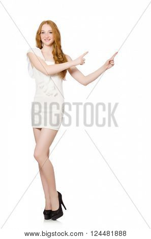 Red hair woman in elegant dress isolated on white
