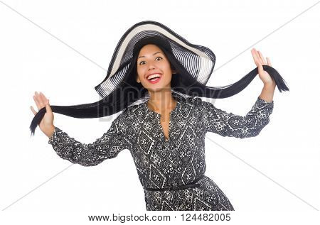 Black hair woman in long gray dress and hat isolated on white