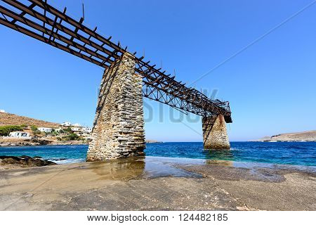 Old gantry at Loutra Kythnos Greece for loading iron ore from the mines