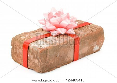 Red Brick Gift Concept of joke make fun of somebody gift on April Fool's Day Prank gift