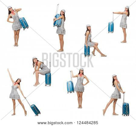 Traveling woman with suitcase isolated on white