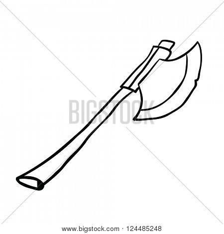 black and white axe cartoon