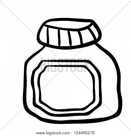 black and white jam jar cartoon