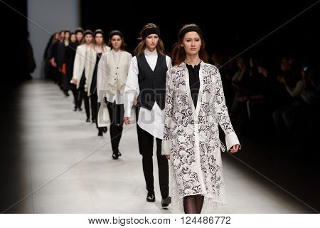 ST. PETERSBURG, RUSSIA - APRIL 1, 2016: Collection of Ianis Chamalidy at the fashion show during Mercedes-Benz Fashion Day St. Petersburg. It is one of the most popular fashion events of the city