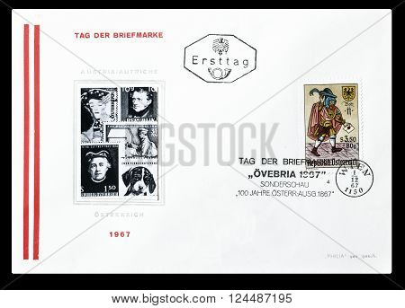 AUSTRIA - CIRCA 1967 : Cancelled First Day Cover letter printed by Austria, that shows Envoy.
