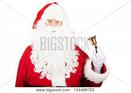 Portrait of Santa Claus holding a bell