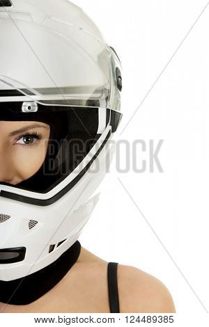 Sexy woman with motorcycle helmet.
