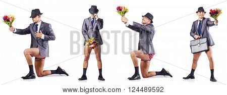Nude businessman presenting flowers on white