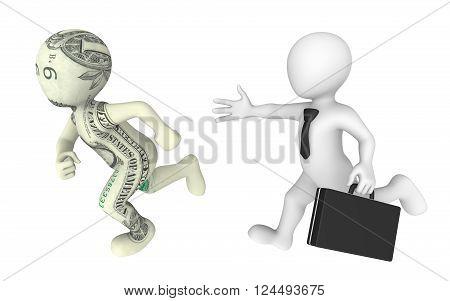 3d businessman pursues dollar cartoon character. 3d illustration.