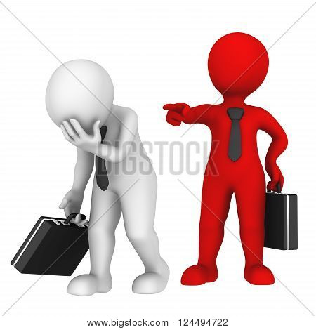 Red boss dismisses subordinated. You fired! 3d business people.
