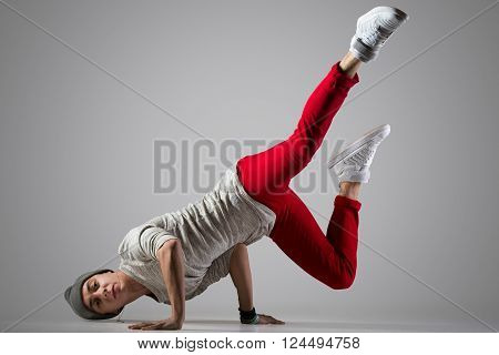 Young Break-dancer Doing Handstand