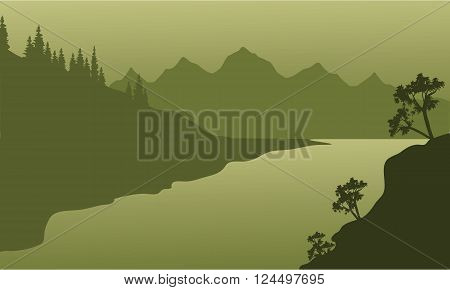 Landscape river and mountain of silhouette with green background