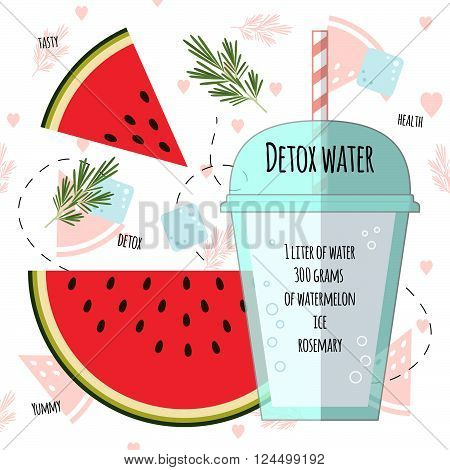 Recipe detox water with watermelon, rosemary, ice. Vector illustration for greeting cards, magazine, cafe and restaurant menu. Fresh cocktail for healthy life, diets.
