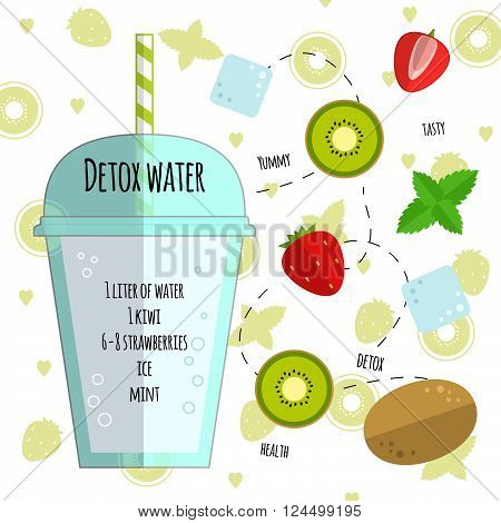 Recipe detox water with kiwi, strawberry, ice, mint. Vector illustration for greeting cards, magazine, cafe and restaurant menu. Fresh cocktail for healthy life, diets.