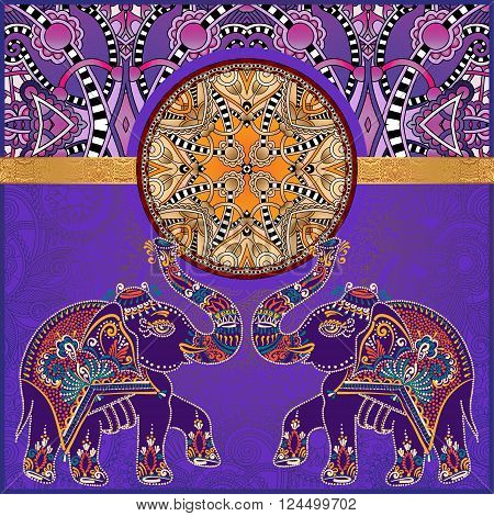 original indian pattern with two elephants for invitation, cover design, fabric pattern or page decoration, ethnic border on vintage flower background, vector illustration