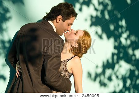 The Embracing Couple In Front Of A Green Background