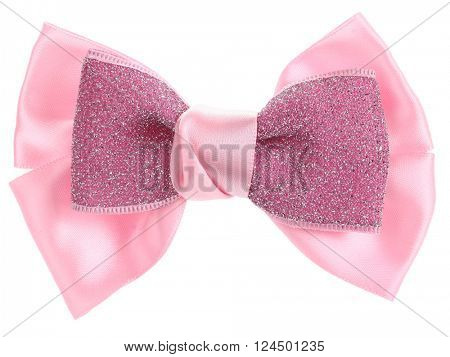 Double pink hair bow tie with sequins