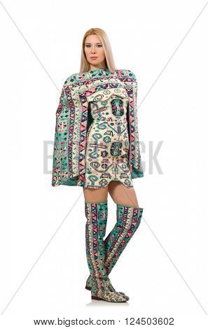 Model wearing dress with Azerbaijani carpet elements isolated on