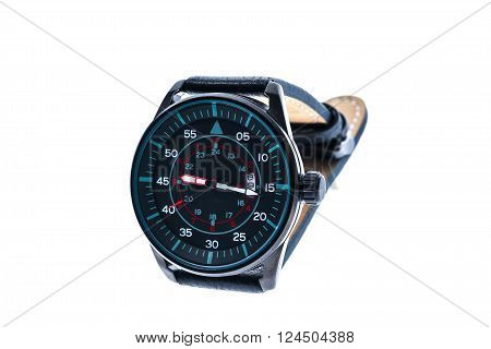 Mens luxury round swiss mechanical wrist watch with leather wristband strap. Chronograph or tachometer isolated on white. High resolution photo.