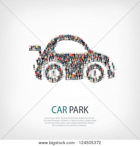 Isometric set of styles, car park, web infographics concept  illustration of a crowded square, flat 3d. Crowd point group forming a predetermined shape. Creative people. - Vector Illustration. Stock vector.