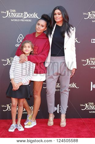 Rachel Roy, Tallulah Ruth Dash Ava Dash at the Los Angeles premiere of 'The Jungle Book' held at the El Capitan Theatre in Hollywood, USA on April 4, 2016.