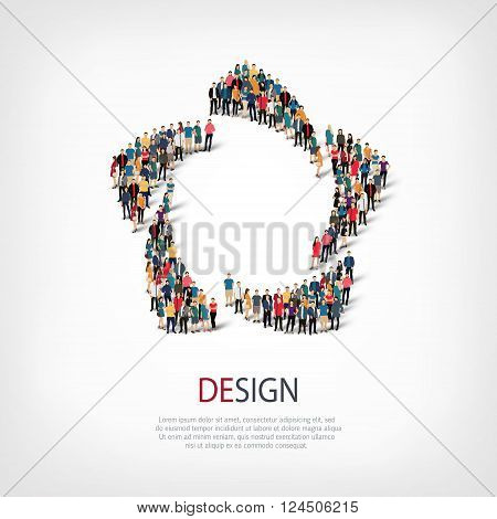 Isometric set of styles, design , web infographics concept  illustration of a crowded square, flat 3d. Crowd point group forming a predetermined shape. Creative people. - Vector Illustration. Stock vector.