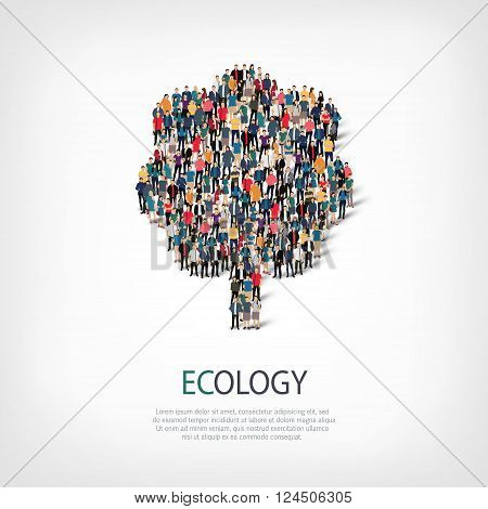 Isometric set of styles, ecology , web infographics concept  illustration of a crowded square, flat 3d. Crowd point group forming a predetermined shape. Creative people. - Vector Illustration. Stock vector.