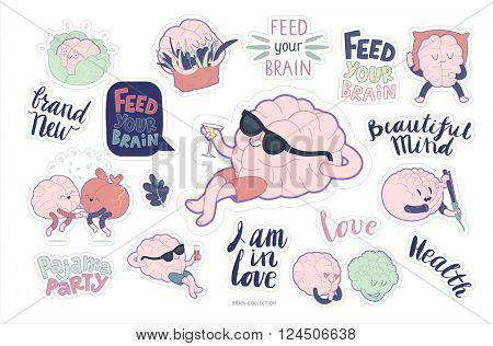 Brain sticker feed and leisure printable set, cartoon vector isolated images with cutting path and lettering, a part of Brain collection