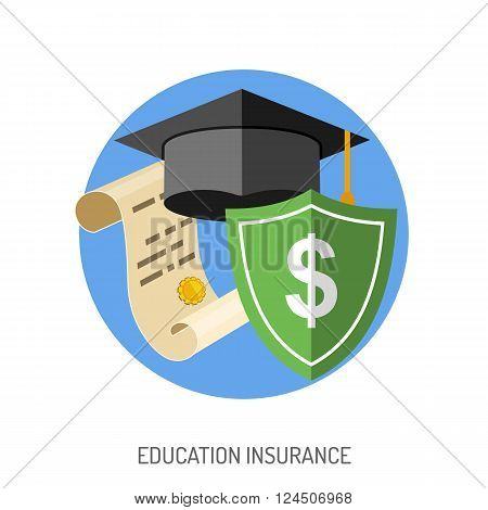 Education Insurance Flat Icon for Poster, Web Site, Advertising like Mortarboard, Shield, Certificate.