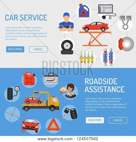 Car Service and Roadside Assistance Banners with Flat Icons for Poster, Web Site, Advertising like Laptop, Tow, Battery, Jack, Mechanic.