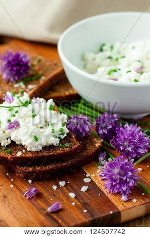 Fresh rye bread with chives and cottage cheese selective focus vertical