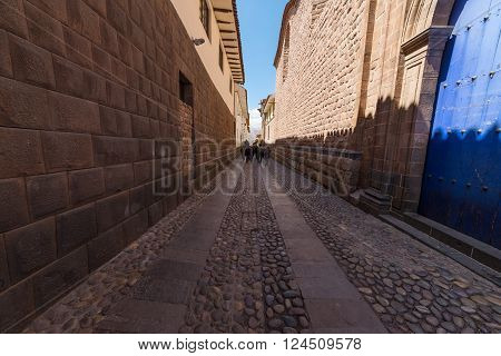 Ancient Narrow Inca Alley In The Center Of Cusco, Peru