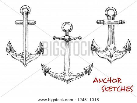 Vintage marine admiralty anchors sketches with forged shanks and movable stocks with balls. Using in nautical tattoo, marine heraldic emblem or travel design