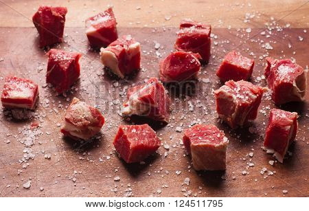 Chopped Jerked Beef Steak over a wooden table