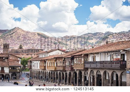 Tourists And Local People On Main Square In Cusco, Peru